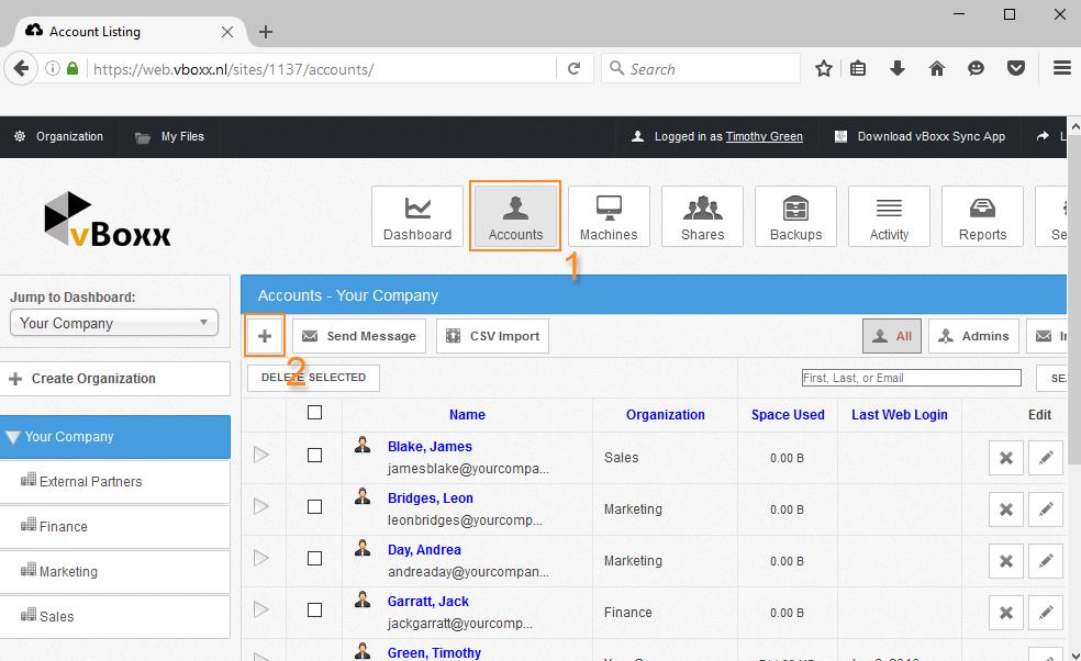 Aan de slag met vBoxxCloud - gebruikers aanmaken