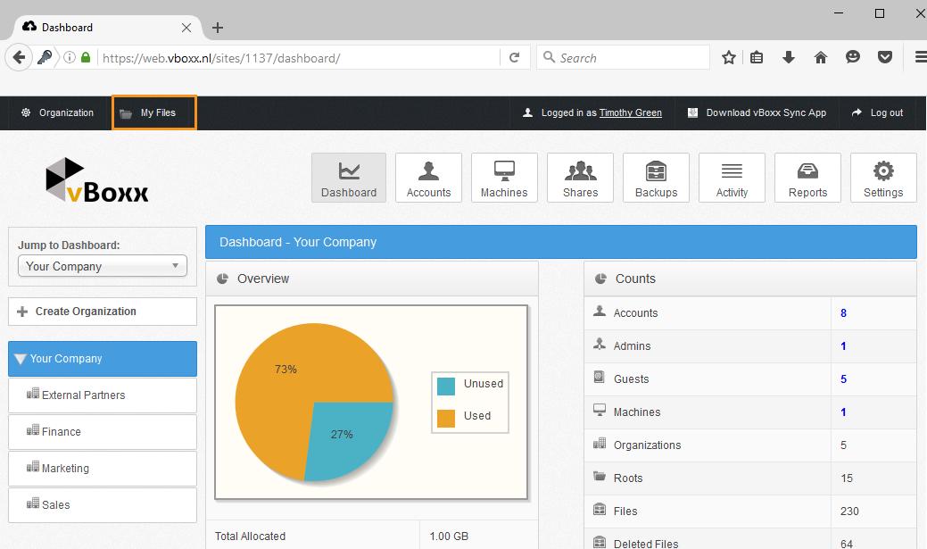 admin portal - vBoxxCloud