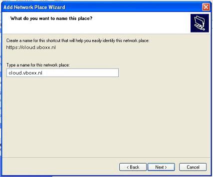 bevestig webDAV shortcut - vBoxxCloud