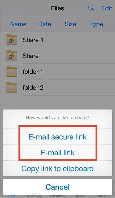 email bestanden link - vBoxxCloud