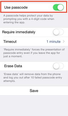 passcode iOS app - vBoxxCloud