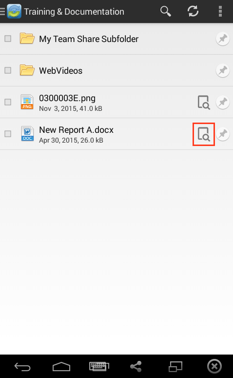 viewing files web preview - vBoxxCloud android app